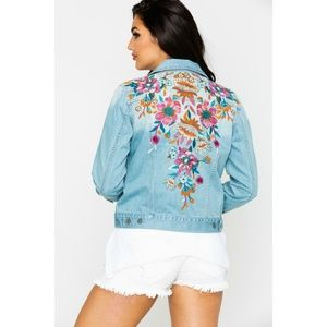 Johnny Was Nena Floral Embroidered Jean Jacket